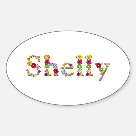 Shelly Bright Flowers Oval Decal