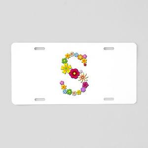 S Bright Flowers Aluminum License Plate