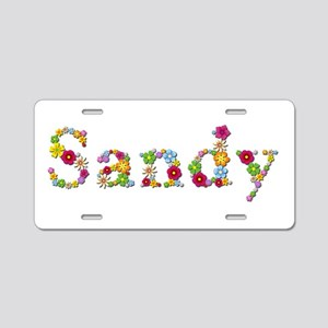 Sandy Bright Flowers Aluminum License Plate