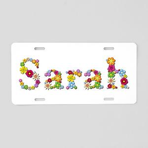 Sarah Bright Flowers Aluminum License Plate