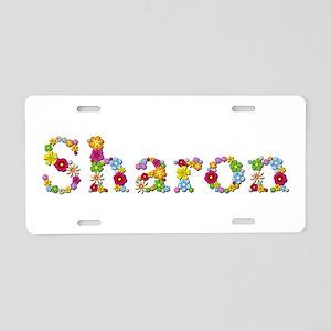 Sharon Bright Flowers Aluminum License Plate