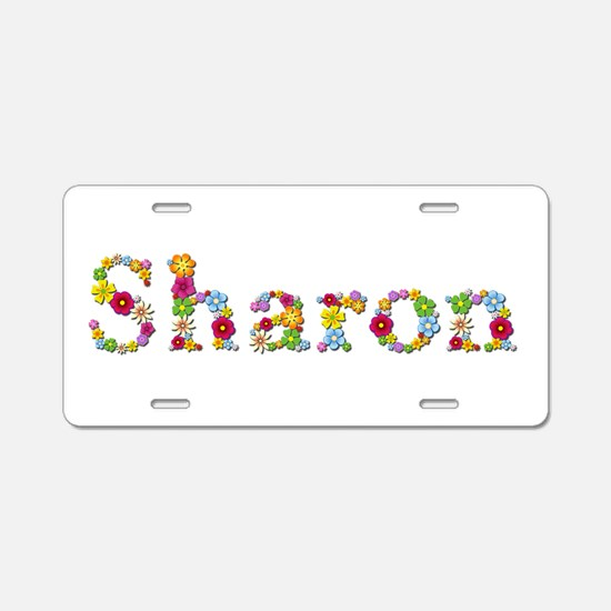 Sharon Bright Flowers Aluminum License Plate