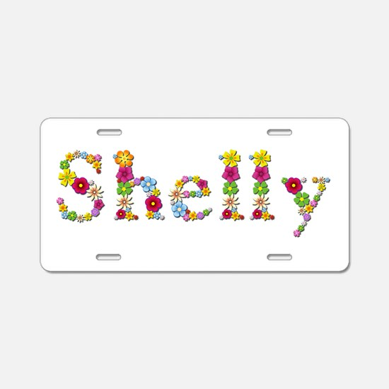 Shelly Bright Flowers Aluminum License Plate