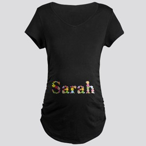 Sarah Bright Flowers Maternity Dark T-Shirt