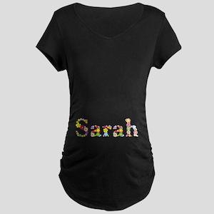 Sarah Bright Flowers Maternity Dark T-Shirt