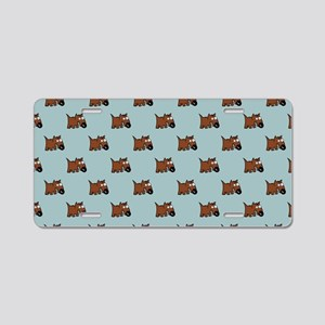 Cute Angry Brown Dog on Lig Aluminum License Plate