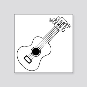 "Frettin white uke on black Square Sticker 3"" x 3"""