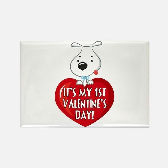 Puppy Dog 1st Valentine's Day Rectangle Magnet (10