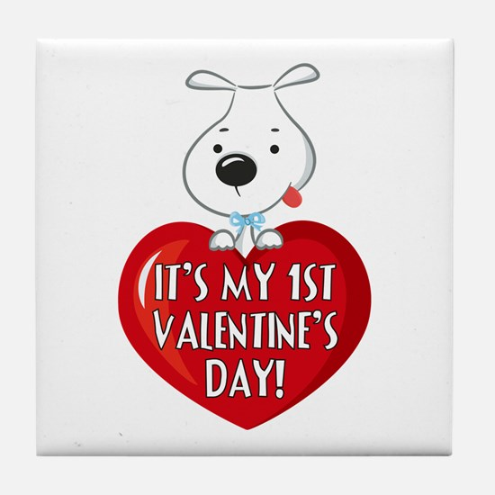 Puppy Dog 1st Valentine's Day Tile Coaster