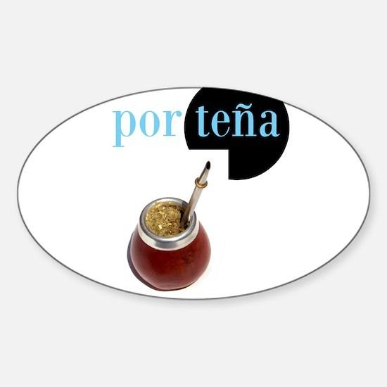 Porteña y Mate Sticker (Oval)