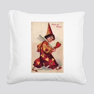 Valentine Pierrot Girl Square Canvas Pillow