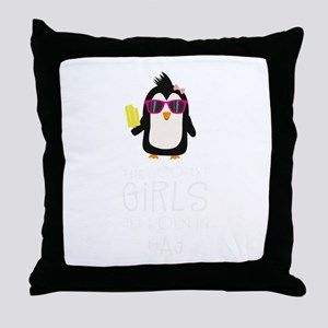 Coolest Girls Birthday in MAY Throw Pillow