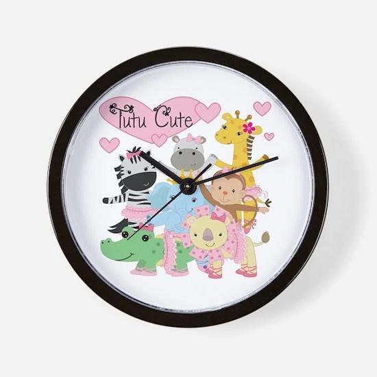 Tutu Cute Zoo Animals Wall Clock