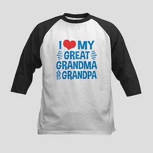 I Love My Great Grandma and Gran Kids Baseball Tee