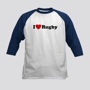 I Love Rugby Kids Baseball Jersey