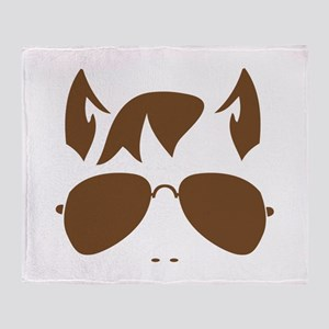 Wolf man with aviator glasses Throw Blanket