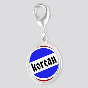 Korean Pride Silver Oval Charm