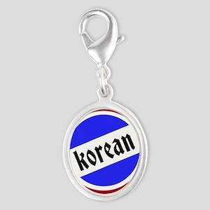 Korean Pride Silver Oval Charm
