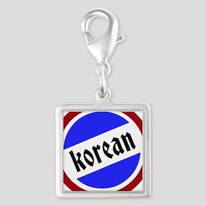 Korean Pride Silver Square Charm