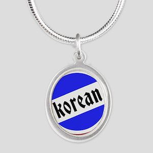 Korean Pride Silver Oval Necklace