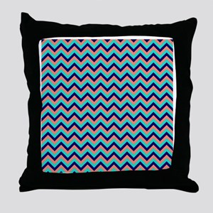 Turquoise, Navy and Peach Chevrons Throw Pillow