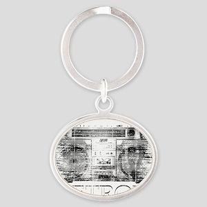 Detroit Ghetto Blaster Boombox Oval Keychain