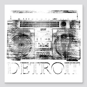 "Detroit Ghetto Blaster B Square Car Magnet 3"" x 3"""