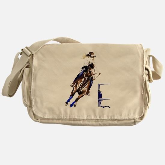 Circle Barrel Horses Messenger Bag