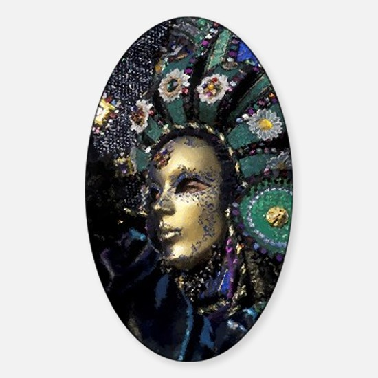 New Orleans Mardi Gras Mask Sticker (Oval)