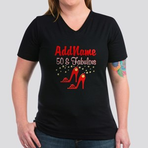 RED HOT 50TH Women's V-Neck Dark T-Shirt