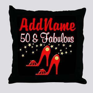 RED HOT 50TH Throw Pillow