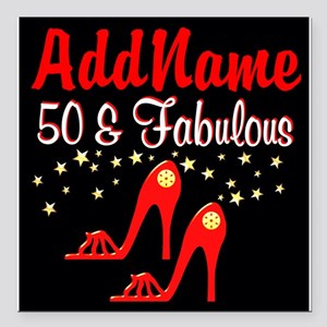 """RED HOT 50TH Square Car Magnet 3"""" x 3"""""""