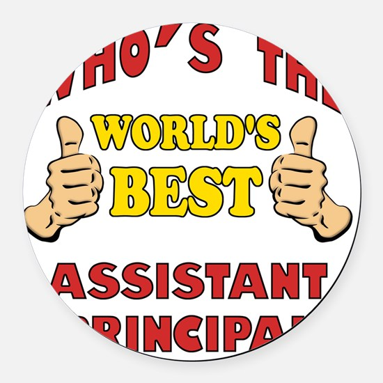 Thumbs Up Worlds Best Assistant P Round Car Magnet