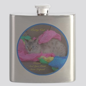 Bengal Snow Leopard sitting on wrapping pape Flask