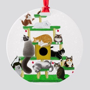 Christmas Cat Tree Round Ornament