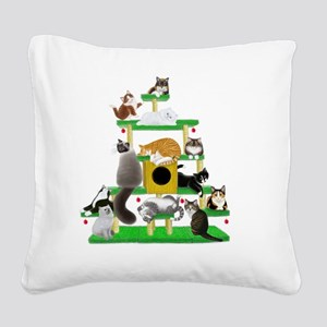 Christmas Cat Tree Square Canvas Pillow