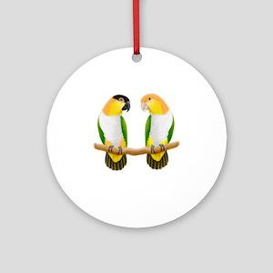 Caique Parrot Love Round Ornament