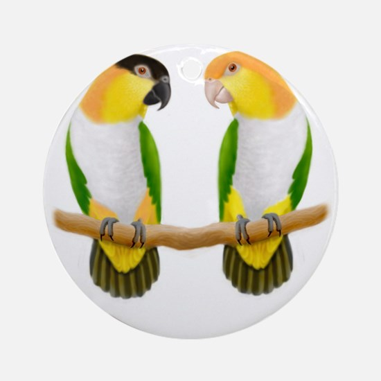 Caique Parrot Love Round Ornament