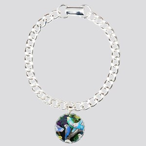 Budgerigars in Ferns Charm Bracelet, One Charm