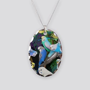 Budgerigars in Ferns Necklace Oval Charm