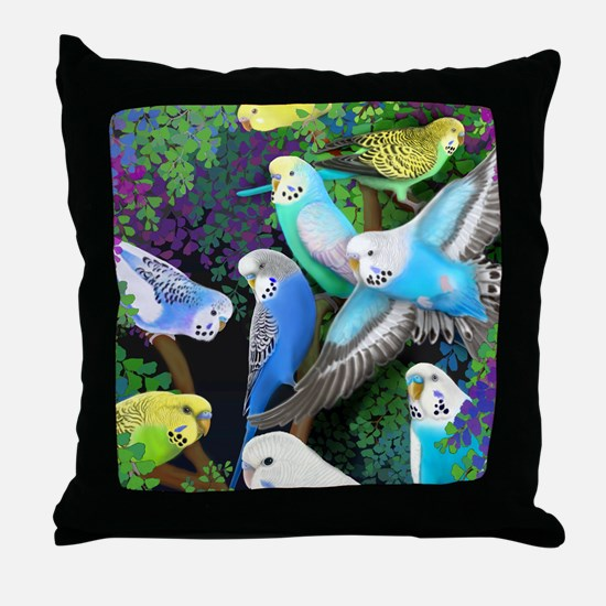 Budgerigars in Ferns Throw Pillow