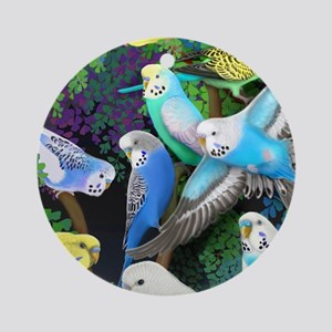 Budgerigars in Ferns Round Ornament