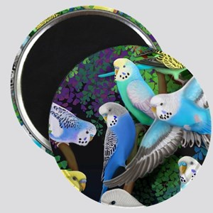 Budgerigars in Ferns Magnet