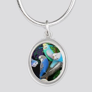 Budgerigars in Ferns Silver Oval Necklace