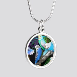 Budgerigars in Ferns Silver Round Necklace