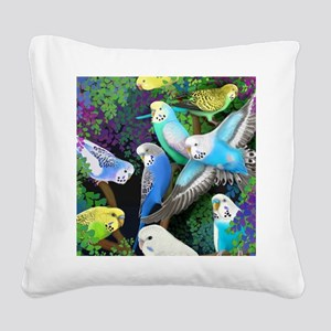 Budgerigars in Ferns Square Canvas Pillow