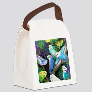 Budgerigars in Ferns Canvas Lunch Bag