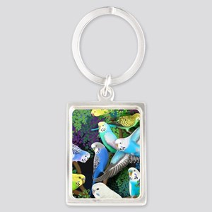 Budgerigars in Ferns Portrait Keychain