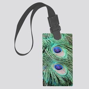 Peacock feather 001 Large Luggage Tag