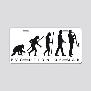 evolution of man bass clari Aluminum License Plate